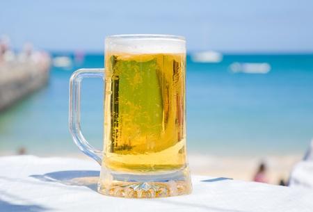 beer in seaside cafe
