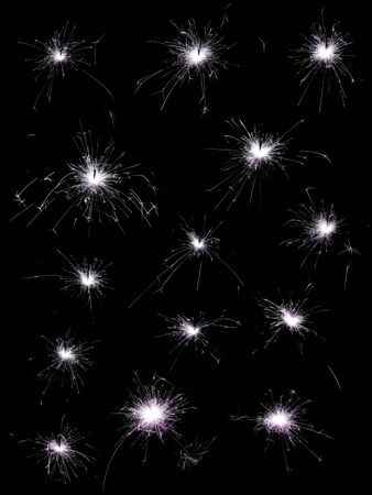 collection of different sparklers on black background photo