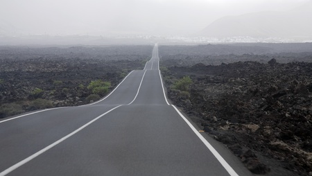 express lane: Lanzarote, Canary Islands,  road through lava fields (from national volcano park to Yaiza)