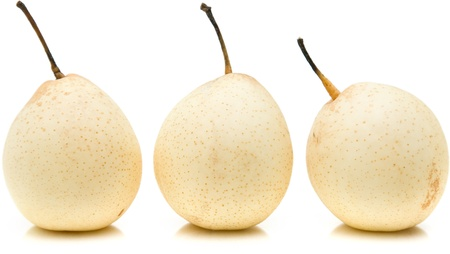 Chinese White Pears (Duck Pear; Ya Pear); isolated on white photo