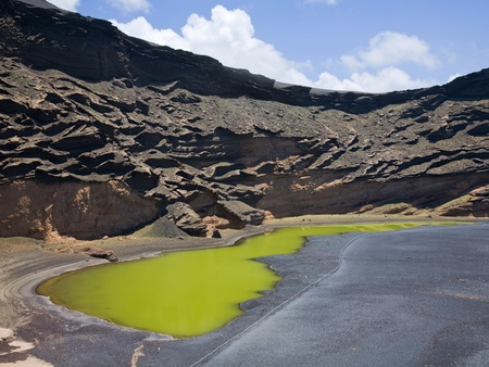 Charco de los Clicos, Lanzarote - shallow sea-water fed pond on the black volcanic sand beach close to El Golfo Village photo