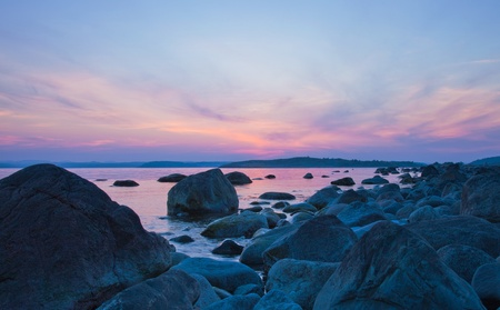 Southern Norway, sunset over water Stock Photo - 12185189