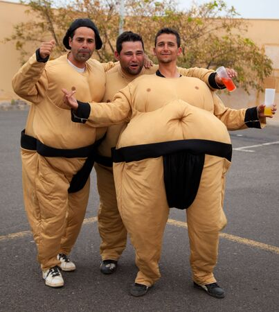 CORRALEJO - MARCH 17: Dressed-up participants, Sumo wrestlers Stock Photo - 12926266
