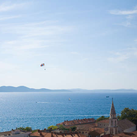 Croatia; Zadar old twon area seen from Belltower of the Cathedral; island Ugljan in the background