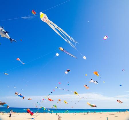 FUERTEVENTURA - NOVEMBER 13: Viewers watch from the ground as multicolored kites fill the sky at 24th International Kite Festival (Festival de Cometas), November 13, 2011 in Dunes of Corralejo, Fuerteventura, Spain 新聞圖片