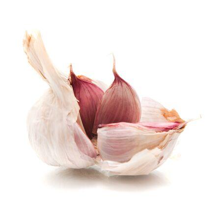 broken bulb of garlic, isolated on white 版權商用圖片