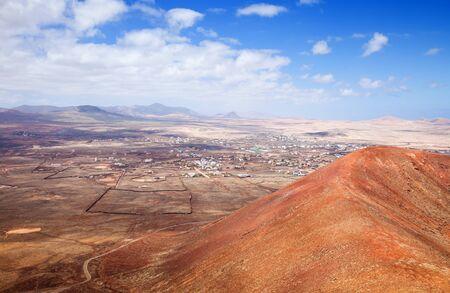 Northern Fuerteventura, Canary Islands, view towards Lajares from Calderon Hondo photo