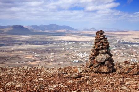 hondo: Inner Fuerteventura, Canary Islands, view from Calderon Hondo towards Lajares; mount Tindaya in the background