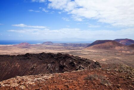hondo: Northern Fuerteventura, Canary Islands, view east from Calderon Hondo Stock Photo