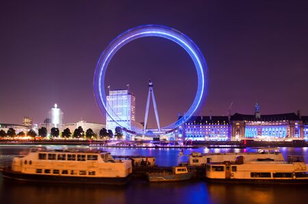 observation wheel: London 2012, London eye observation wheel floodlit and moving Editorial