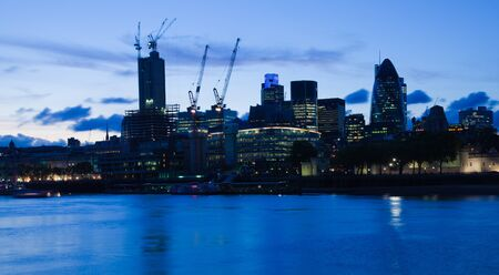 30 st mary axe: London  2012, City of London at dusk Editorial