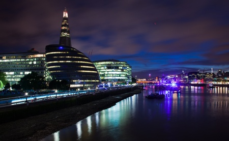 London 2012, The Shard, The City Hall and office buildings at night Stock Photo - 14985766