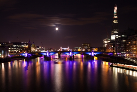 London  2012, floodlit bridges, Olympic rings on the Tower bridge Stock Photo - 14998117