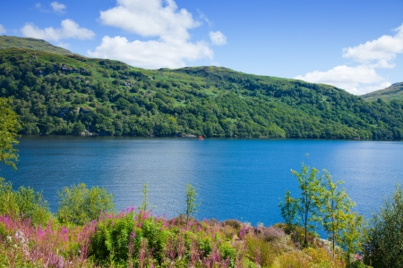 scotland, loch lomond, summer landscape with a small red boat Stock Photo - 15048095