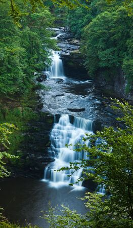 linn: Corra Linn waterfall Clyde Valley Stock Photo