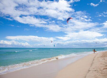 azul: Fuerteventura, September 2012 - kitesurfers practice off the North Coast of Fuerteventura