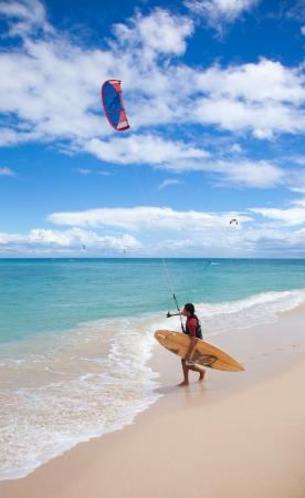 Fuerteventura, September 2012 - kitesurfers practice off the North Coast of Fuerteventura