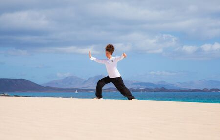 Young attractive woman making Thai-chi movements in the dunes by the ocean Stock Photo - 15844597