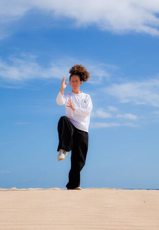Young attractive woman making Thai-chi movements in the dunes by the ocean Stock Photo - 15841582