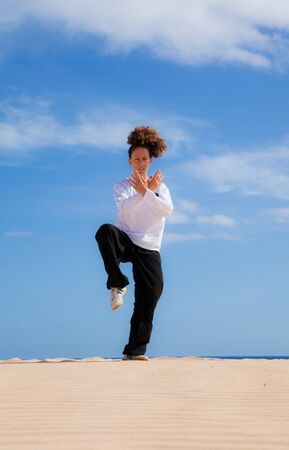 Young attractive woman making Thai-chi movements in the dunes by the ocean Stock Photo - 15841587