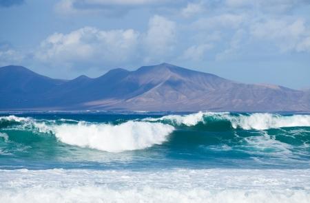 swell: Sea swell between Fuerteventura and Lanzarote - Playa blanca area of Lanzarote in the background