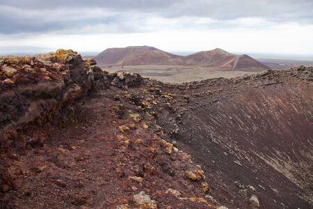 hondo: Northern Fuerteventura, overcast day, view east over crater of Calderon Hondo