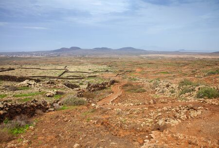 lobos: Northern Fuerteventura, walking path from Lajares to Villaverde and La Oliva Stock Photo