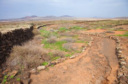 oliva: Northern Fuerteventura, walking path from Lajares to Villaverde and La Oliva Stock Photo