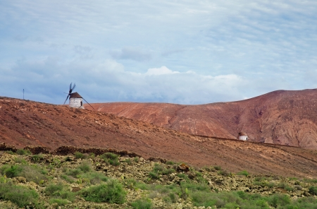 Inland Fuerteventura, windmills between Villaverde and La Oliva villages photo