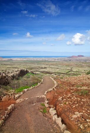 hondo: Inland Fuerteventura, view towards Lajares from the Malpais de la Arena, late autumn and little green appearing after rains Stock Photo