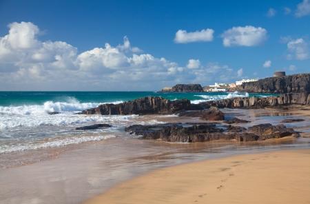 Northern Fuerteventura, edge of El Cotillo, beach Playa del Castillo 版權商用圖片