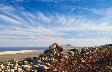 cirrus: Northern Fuerteventura, Canary islands, view from the top of volcano Bayuyo