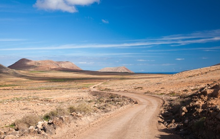 Inland Fuerteventura, Canary Islands,  dirt track Stock Photo - 16947029
