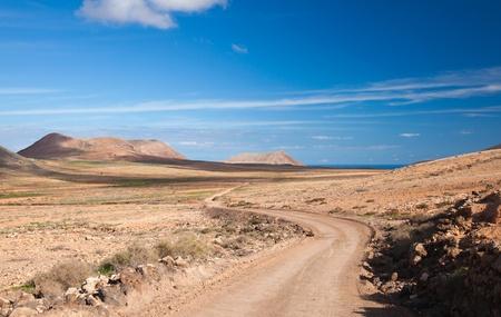 Inland Fuerteventura, Canary Islands,  dirt track Stock Photo - 16947029