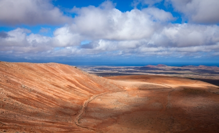 Inland Fuerteventura, view north from Montana de Ecanfraga, edge and intter part of the caldera Stock Photo - 17424206