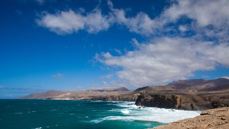 Eroded west coast of Fuerteventura, Canary Islands at La Pared Stock Photo - 17540489