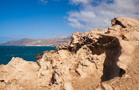 Eroded west coast of Fuerteventura, Canary Islands at La Pared Stock Photo - 17540522