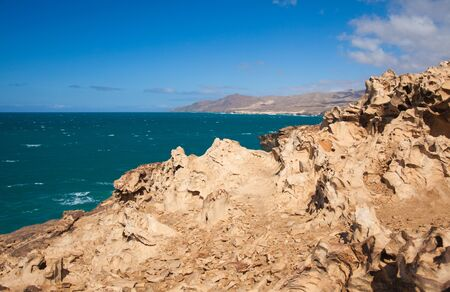 Eroded west coast of Fuerteventura, Canary Islands at La Pared Stock Photo - 17540525