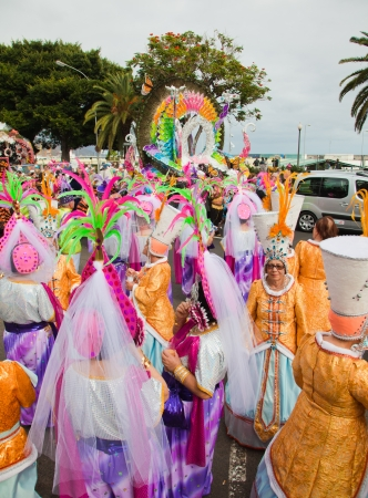 SANTA CRUZ, SPAIN - February 12: paryicipants prepare and assemble for the carnival parade for one of the most important carnivals in the world on February 12, 2013 in Santa Cruz de Tenerife, Spain Stock Photo - 17951116