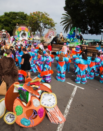 SANTA CRUZ, SPAIN - February 12: paryicipants prepare and assemble for the carnival parade for one of the most important carnivals in the world on February 12, 2013 in Santa Cruz de Tenerife, Spain Stock Photo - 17951118