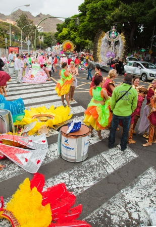 SANTA CRUZ, SPAIN - February 12: participants prepare and assemble for the carnival parade for one of the most important carnivals in the world on February 12, 2013 in Santa Cruz de Tenerife, Spain Stock Photo - 17951117