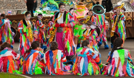 canary isalnds: SANTA CRUZ, SPAIN - February 12: participants prepare and assemble for the carnival parade for one of the most important carnivals in the world on February 12, 2013 in Santa Cruz de Tenerife, Spain