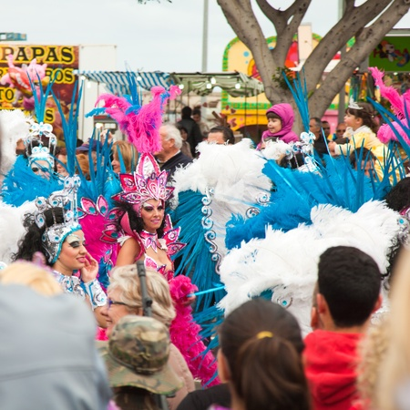 canary isalnds: SANTA CRUZ, SPAIN - February 12: one of the samba collectives doing their routine during the carnival parade on February 12, 2013 in Santa Cruz de Tenerife, Spain