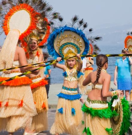 canary isalnds: PUERTO DE LA CRUZ, SPAIN - February 16: participants prepare and assemble for the main carnival parade on February 16, 2013 in Puerto de la Cruz, Tenerife, Spain
