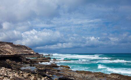 Eroded  west coast of Fuerteventura at La Pared Stock Photo