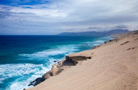 swell: Eroded  west coast of Fuerteventura at Jandia, close to La Pared, view north Stock Photo