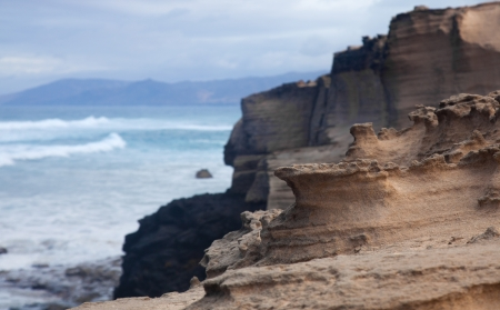coastal erosion: Eroded  west coast of Fuerteventura at Jandia, close to La Pared Stock Photo