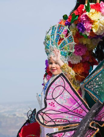 PUERTO DE LA CRUZ, SPAIN - February 16: Colorfully dressed participants take part in main carnival parade on February 16, 2013 in Puerto de la Cruz, Tenerife, Spain Stock Photo - 18468702