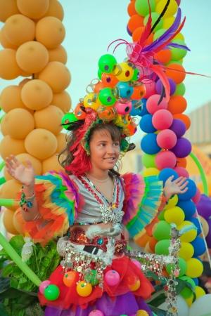 CORRALEJO, SPAIN - MAR 16: unidentified participants take part in the main carnival parade on March 16, 2013 in Corralejo, Fuerteventura, Spain Stock Photo - 18535874