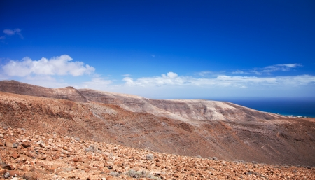 Southern Fuerteventura, Jandia, view across the Barranco de Bitihondo and Barranco de Esquinzo photo